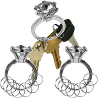 Silver Bling Diamond Ring Key Chain - Set of 3 - White Stone