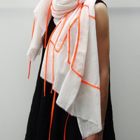 NO.1 Unisex Off White/Acid Orange Cotton Geometric Corded Striped Appliqué Over-Sized Scarf-Hand Dyed