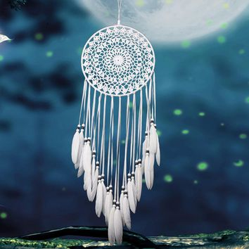 Handmade Dream Catchers Hanging White Lace Flower Dreamcatcher Wind Chimes Indiana Feather Pendant Creative Car Decoration