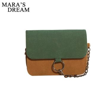 Leather Small Flap Women Crossbody Bag Chain Messenger Shoulder Bag