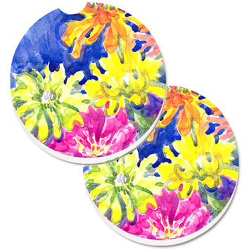 Flower Set of 2 Cup Holder Car Coasters 6122CARC