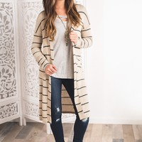 Sacramento Striped Duster Cardigan (Taupe)