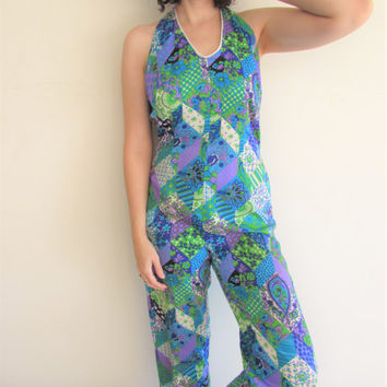 Vintage 60s 70s Blue Green Purple Psychedelic Graphic Floral Print Jumpsuit