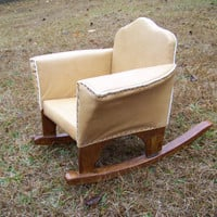 Vintage Upholstered Child's Rocking Chair...Leather like Rocker...Handmade...Mid Century...Southern Country Charm...Club Chair Rocker