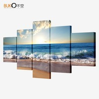 5 piece canvas art picture modular Sea painting modern pictures on the wall for the kitchen home wall art decoration