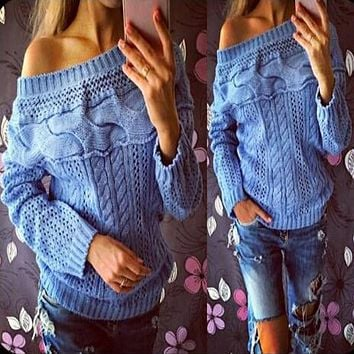 Women Off Shoulder Sweater 2018 Sexy Casual Autumn Winter Solid Pullover Long Sleeve Knited Sweatershirt Hollow Out Femme Jumper
