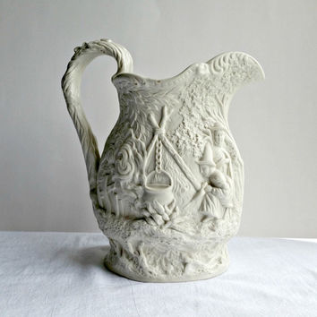 Stoneware Pitcher - Raised Relief Pottery - Medieval - Midevil Scene Pottery - Jones & Walley - Gipsy - Gypsy - Antique Pottery