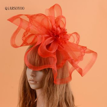 Vintage Red Fascinator Wedding Hat For Women Big Vogue Mesh Gauze Flower Hairpins Photo Shooting Bride Cocktail Party Headwear