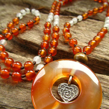 Carnelian Stone ~ Karen Hill Tribe Silver ~ Quartz ~ 108 Mala Love Bead Necklace Positive Energy Healing