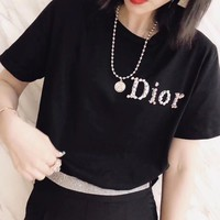 Dior Women Short Sleeve Bowknot Top