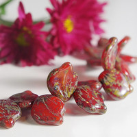1 strand of Picasso Red Leaves -  Czech glass beads -Leaf Beads -  Czech Picasso Beads - 14*12 mm, 1 p - 3941