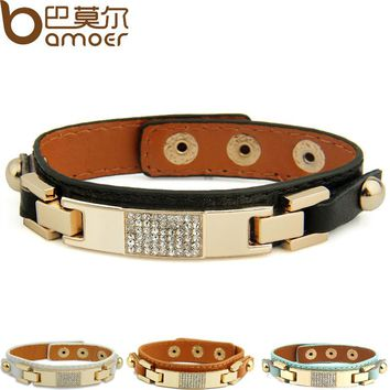BAMOER Gold Color Black Leather Bracelet