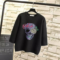 Stylish Round-neck Long Sleeve Skull Embroidery Pullover Women's Fashion Tops Hoodies [4919015748]