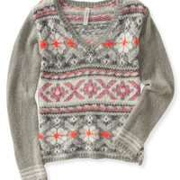 Aeropostale  Fair Isle V-Neck Boxy Sweater