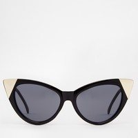 ASOS Pointy Cat Eye Sunglasses With Metal Corner Detail