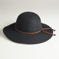 Black Floppy Hat with Braided Tie - World Market