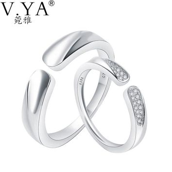 S925 Solid Silver Open Size Couple Rings for Lover Jewelry Gold Plating Ring 100% Real Genuine 925 Sterling Silver Ring 1 Pair