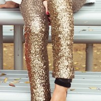 Sequined Gold Silver Leggings Glitter Pants | Pariscoming