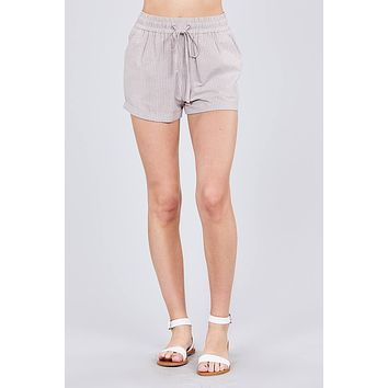 Waist Elastic W/drawstring Yarn Dye Stripe Short Pants