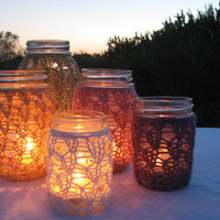 Mason Jar Wedding Decorations - Candle Holder / Vase - Green / Yellow / Purple / Multicolored - Set of 5
