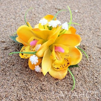 Orchid Wonder Yellow Hawaiian Flower Hair Clip