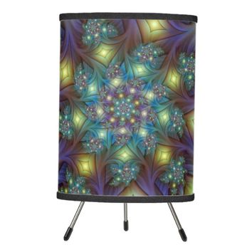 Illuminated modern blue purple Fractal Pattern Tripod Lamp