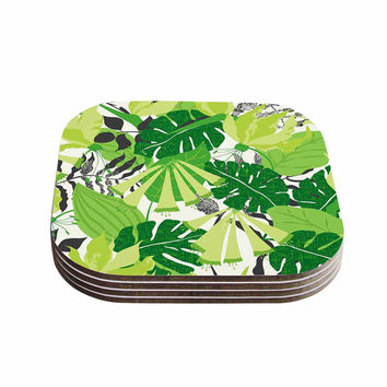 "Jacqueline Milton ""Tropicana - Green"" Lime White Coasters (Set of 4)"