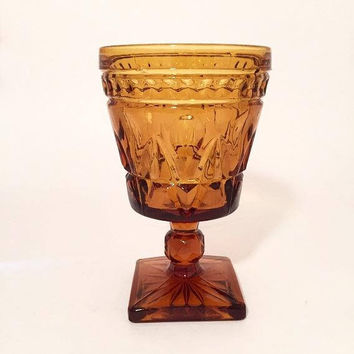 Colony Amber Park Lane Goblets, Set of 6 Amber Glass Water Goblets, Vintage Wine Glasses