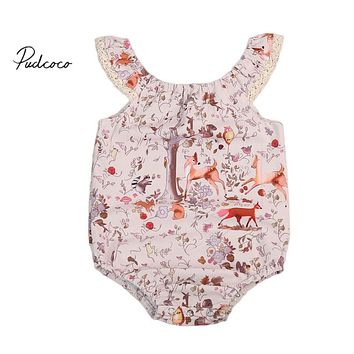 Cute Deer Pattern Newborn Baby Girls Bodysuit  New Arrival Summer Clothes Outfits