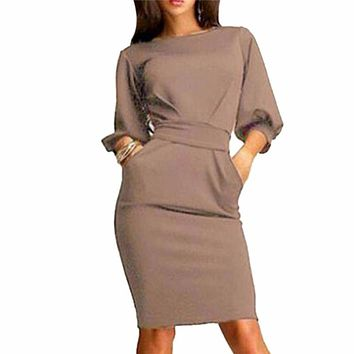 HOT 2017 Summer Women Casual Party Dress Half Sleeve Club wear Formal Evening OL Bodycon Bow Mini Elegant Dresses Plus Size