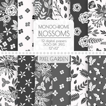 Black & White Floral Digital Paper. Monochrome Rose, Peony Blossom Patterns. Cottage Chic Scrapbook Paper. Grey, Grayscale Vintage Flowers.