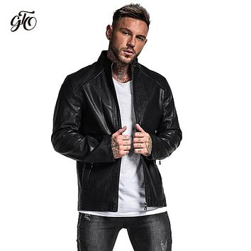 Gingtto Men Leather Jacket Black Winter 2018 Fashion Slim Fit Athletic Fit Design Lightweight Men Jackets And Coats Fall zm703