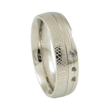 Titanium White  Topaz Inlay Wedding Band