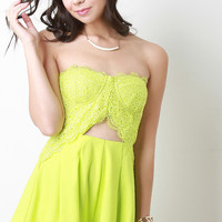 Intricate Lace Sweetheart Cutout Strapless Romper