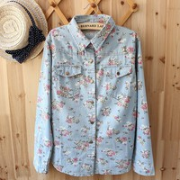 Vintage Floral Loose Denim Shirt Light Blue