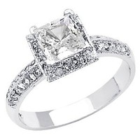 14K White Gold High Poliosh Finish Princess-cut 1.50 CTW Top Quality Shines CZ Cubic Zirconia Ladies Solitaire Wedding Engagement Ring Band: Jewelry: Amazon.com