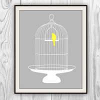 Birdcage Print - 8x10 Gray, White, & Yellow Bird cage art