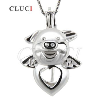 CLUCI Funny Pigs pearls pendant 925 sterling silver pendant animal locket cage pendant necklace pendants 3pcs