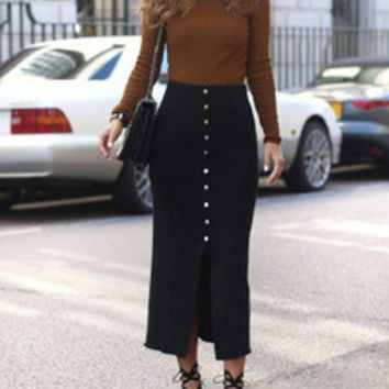 Black High Waist With Button Skirt