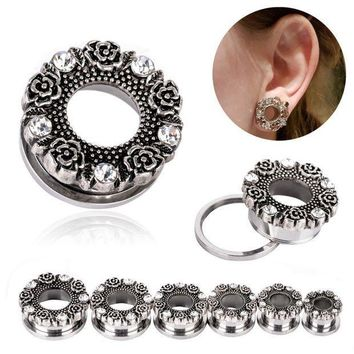 ac PEAPO2Q 1Pair Hollow Ear Expansions Stainless Steel Ear Expander Flower Crystal Flesh Tunnel Ear Plug Stretcher Body Piercing Jeweley