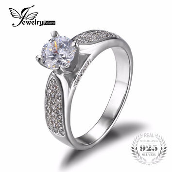 JewelryPalace Classic 1.86ct Fashion Zirconia Wedding Engagement Rings For Women Genuine 925 Sterling Silver Simple Rings Bijoux