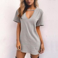 Women's Heather Gray Short Sleeve V-Neck Tunic Top T-Shirt