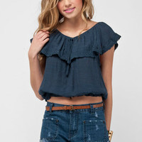 Off Shoulder Boho Top in Navy :: tobi