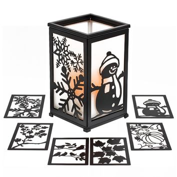 Indoor/Outdoor Interchangeable Panels and Colors Flameless Pillar Candle Lantern