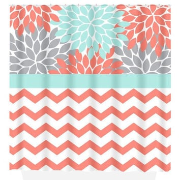 Coral Aqua Gray SHOWER CURTAIN, Flower Burst Petals, Chevron Custom MONOGRAM Personalized, Bathroom Decor, Beach Towel, Plush Bath Mat