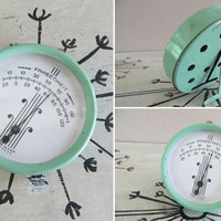 Metal Thermometer Green Thermometer Chippy Green Mint Green Fahrenheit Indoor Thermometer Shabby Decor