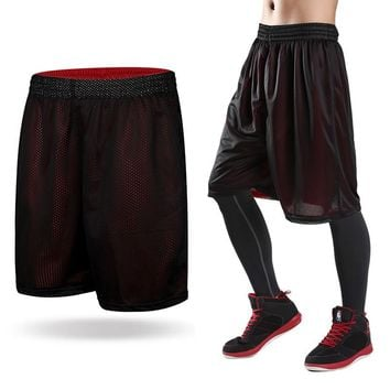 Double Wear Mens Black Basketball Shorts Quick Dry Breathable Male Training Basket-ball Jersey Sport Running Shorts