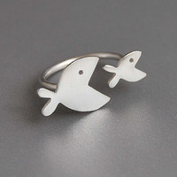 Two Fishes Open Ring Sterling Silver Adjustable Band Playful Design Cute Modern Gift for Her Under 45