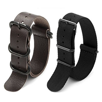 2pc 20mm Nato Ss Nylon Striped Black , Brown Leather Replacement Watch Strap Band