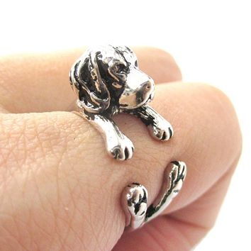 3D Beagle Dog Shaped Animal Wrap Ring in Shiny Silver | Sizes 4 to 8.5